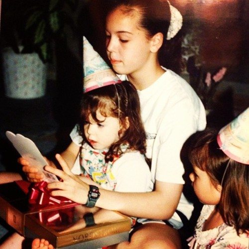 My big sister helping me out opening my birthday gifts! #tbt #sisterlove #10yearsdifference #birthdayparty #nordstroms #90's