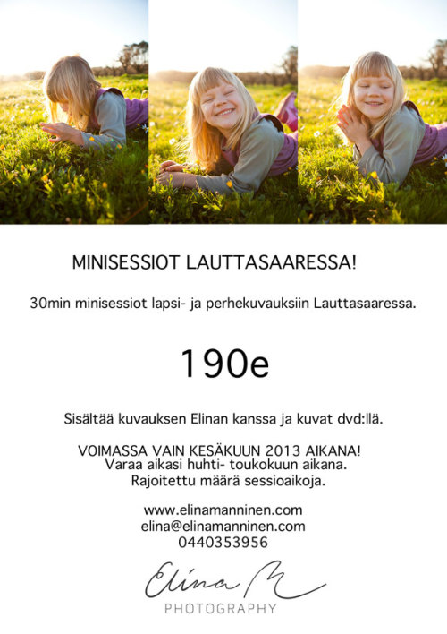 June minisessions in Lauttasaari - I still have session times available for bookings. If you want your time to be on a weekend let me know soon :). I'm off to Serbia with my sister on the 21st of June and will be doing these sessions until 20th June.