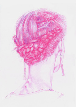 Illustration art hair fashion Model pink Backstage pink hair fashion illustration artists on tumblr illustrator artistsontumblr artistsoninstagram Backstage Runway art_kickstart florenciamir