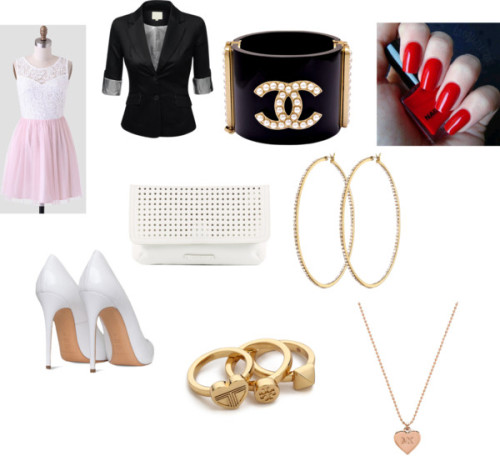 Sin título #24 by agus-680 featuring a pink dress ❤ liked on PolyvorePink dress / J TOMSON boyfriend jacket / White heel shoes / White handbag, $46 / Michael Kors heart shaped necklace / Chanel cuff bracelet / Tory Burch yellow gold ring / Henri Bendel earrings