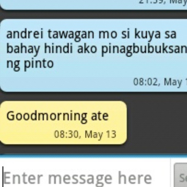 I texted andrei to wake his kuya but then this is his reply…amp. hahahaha :D