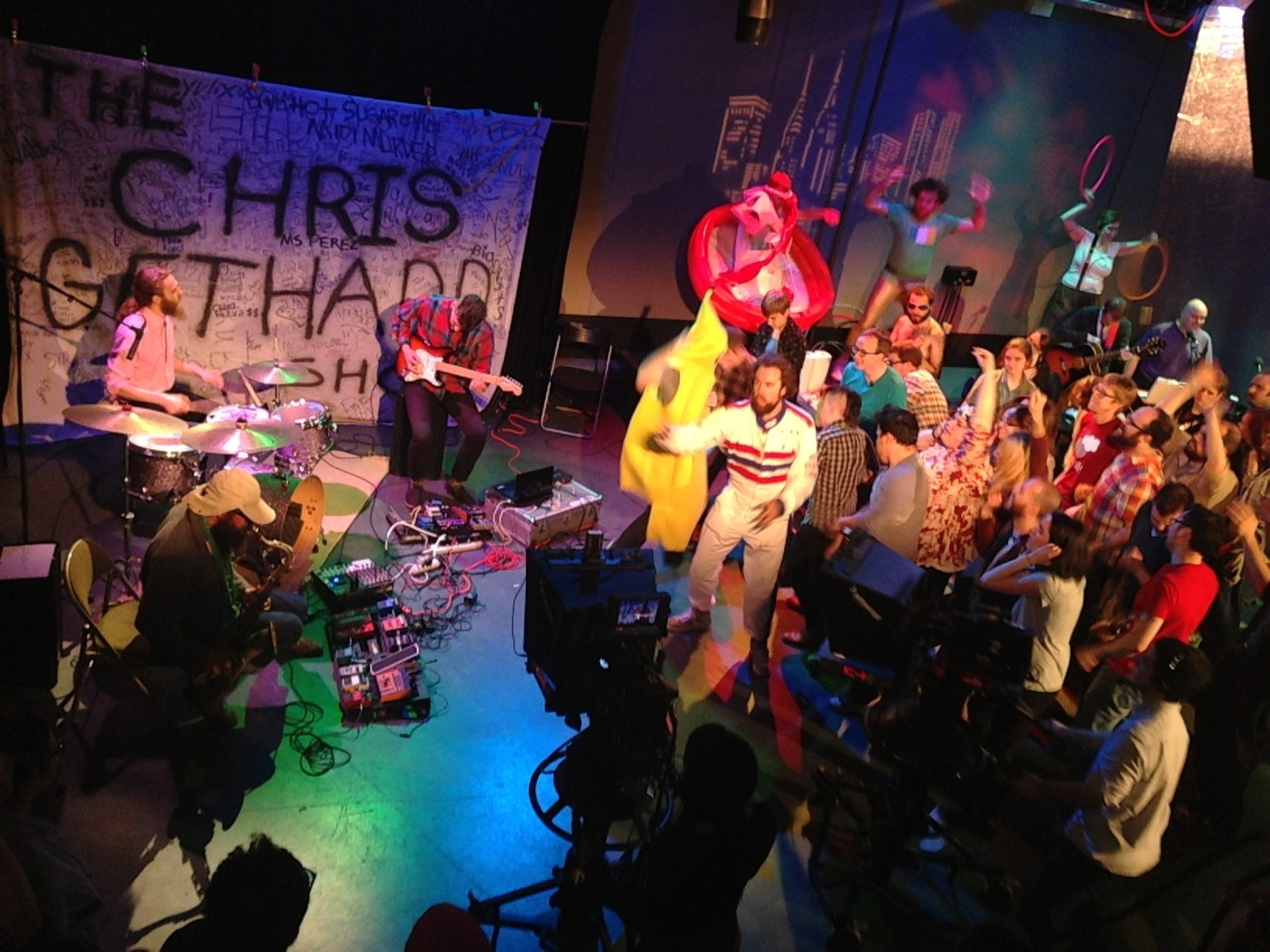 Zs played two 5 minute pieces on The Chris Gethard Show last night. Amy Poehler danced in the audience along with a man dressed as a banana. I'm a fan of the show now. It's hilarious and the vibes are fantastic. Watch it on Wednesday nights or check the shows out on youtube. I'll share the ZS performances once they're up. Blake Brysha snapped this photo. — with Greg Fox, Diamond Terrifier, ZS, Patrick Higgins,Human Wishing Well and Chris Gethard at Manhattan Neighborhood Network.