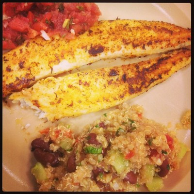 Fried Basa w/salsa and @blue_julez07's Quinoa for lunch at work! #NoMeatFridays #LentenFridays #FishFridays #Fish #Quinoa #TGIF