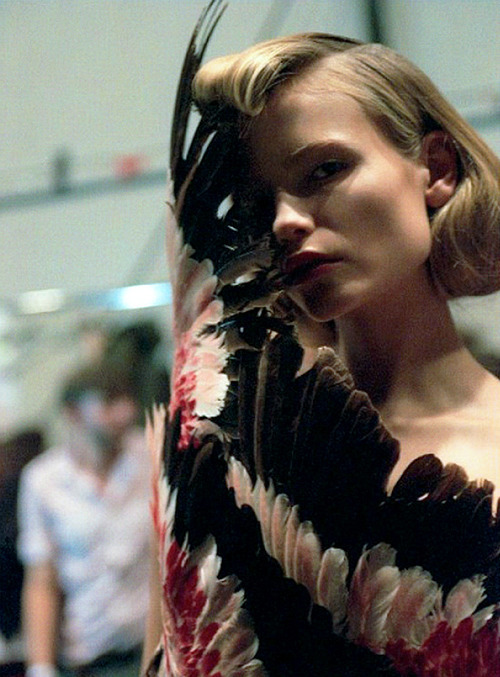 Natasha Poly backstage at Alexander McQueen Spring 2008.