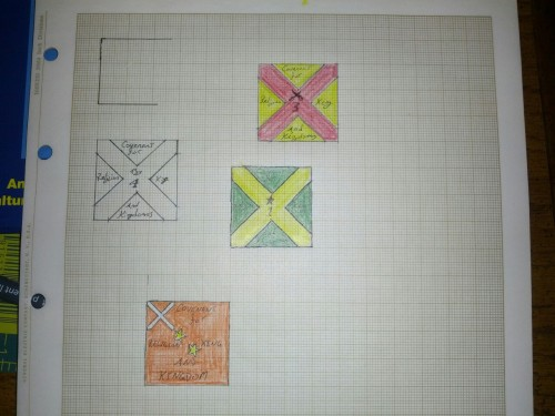 Flag rough drafts for English Civil War era Scots Covenanters. Apparently the hardest part about building a regiment of them is choosing a standard for them to carry!