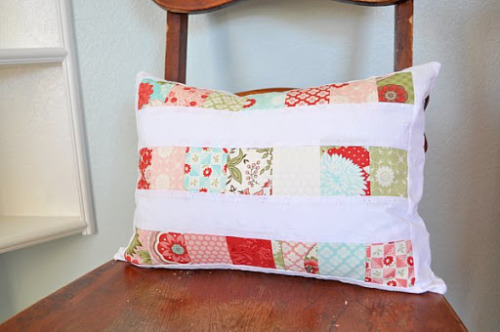 simple piece throw pillow cover.  great way to use up scraps