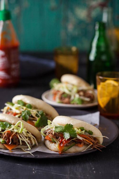 dustjacketattic:gua bao (steamed buns) with hoisin &amp ginger pulled pork