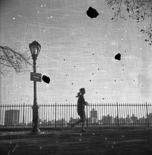 Bruno Bertrand-Frezoul - 5007-11, 2006. … this image of the Central Park Reservoir was produced by carefully scratching the negative, burning a series of holes in it with a lit cigarette, and then printing the results … via The New York Photo Review