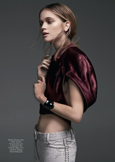 A satin bomber jacket from Burberry Prorsum S/S13 collection as featured in the May issue of Harper's Bazaar Australia