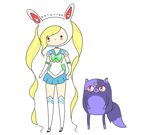 shleechan:  toonami:  Yesss! Sailor Finn  It's Sailor Fionna you adorable funny Toonami men! And that's Cake as Luna. :D