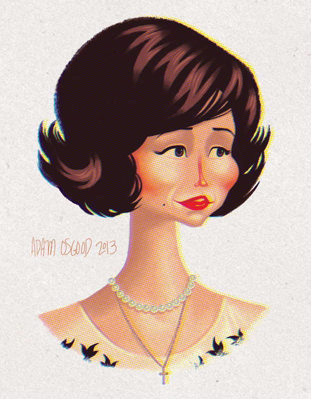 Follow-up to my 2009 portrait set, here is Sylvia Rosen from Mad Men. See more Mad Men portraits here.