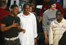 Jay-Z, Will Smith, Ashton Kutcher, and Diddy. 2004.