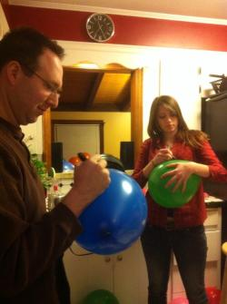 Andrea does most of the artwork on the balloons.