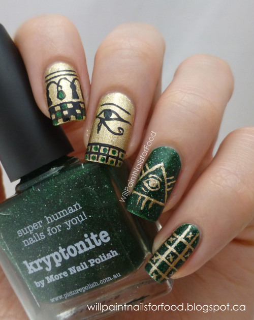 willpaintnailsforfood:  Glaucoma Awareness Manicure Hi everyone, I did this manicure for a contest on Instagram held by @marijonails for Glaucoma awareness month. Green is the colour for Glaucoma awareness month, and I used some eye motifs from Western culture. On my blog I have more info about this debilitating disease, along with some information about the motifs and inspiration for this design. I hope you'll check it out!