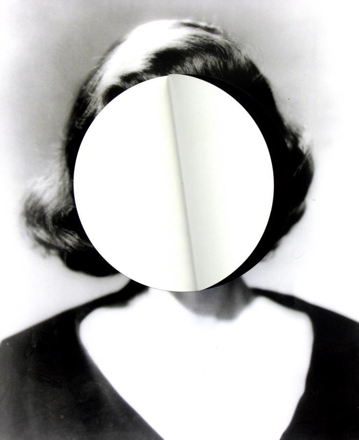 Julie Cockburn. Mood Swing 2 (white circle), 2010. Found photograph, self-adhesive vinyl.    Website Facebook Flowers Gallery  Via Art From Suburbia