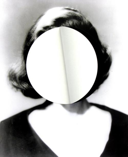 darksilenceinsuburbia:  Julie Cockburn. Mood Swing 2 (white circle), 2010. Found photograph, self-adhesive vinyl.    Website Facebook Flowers Gallery  Via Art From Suburbia