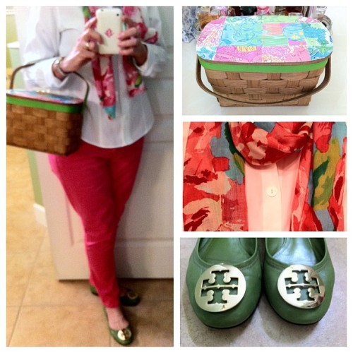 OOTN.  #happpyhour #pink #green #hottypinkfirstimpression #revas #whatiwore #seniorfashion