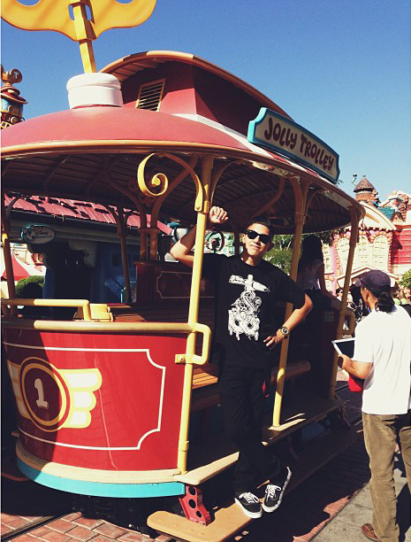 @debvkle hoppin on that jolly trolley in the T&B x @gregmike t-shirt #troublemaker