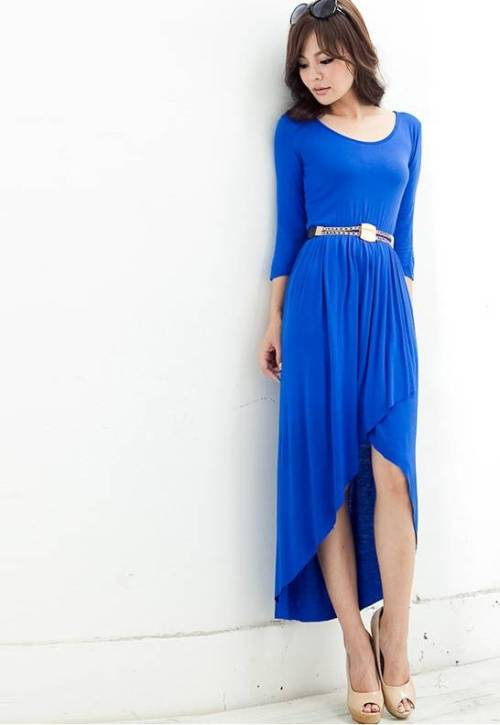 35-24-35:  Elegant 3/4 Sleeves Solid Color High-Low Imitated Silk Spring