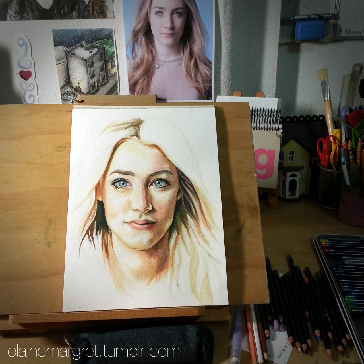 Drawing/painting a portrait of Saoirse Ronan in Derwent Inktense watersoluble ink pencils. Completely freehand from observation - no grids, no tracing, no guidelines. :) Work-In-Progress 22/01/13