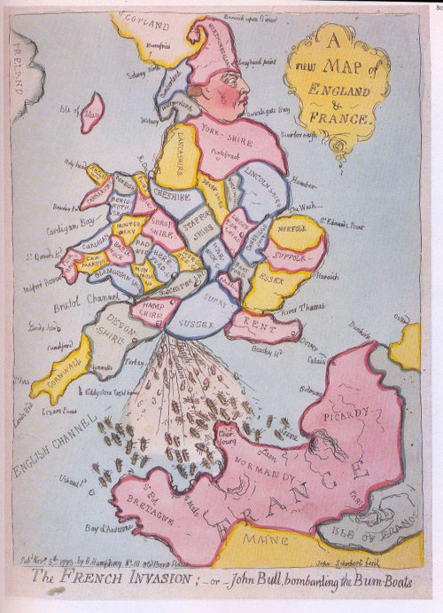 landofmaps:  A rather crude antique map, depicting England and France [940x1300]