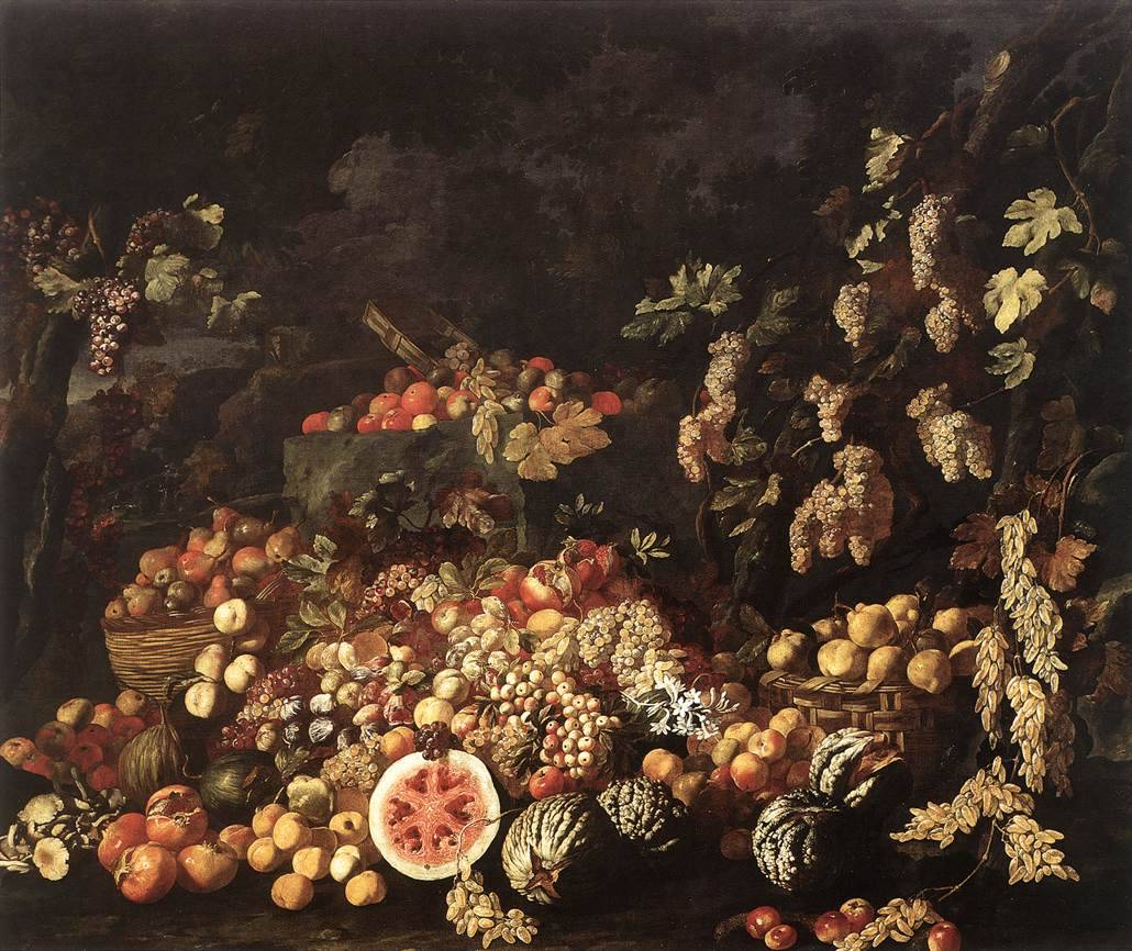 RECCO, Giuseppe [Italian Baroque Era Painter, 1634-1695] Still-Life with Fruit and Flowersc. 1670Oil on canvas, 255 x 301 cmMuseo Nazionale di Capodimonte, Naples
