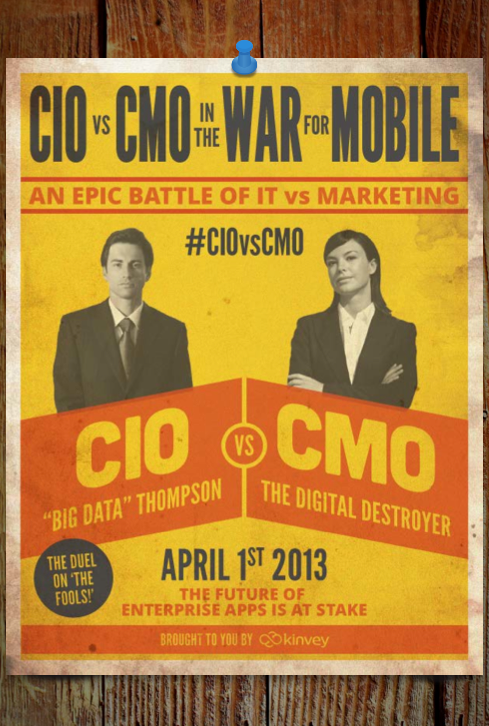 Old school fight poster style eBook cover: CMO vs. CIO.