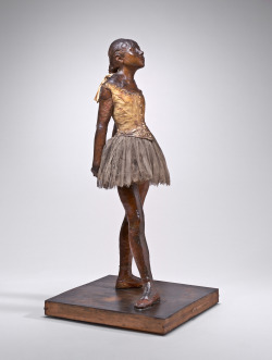 Edgar Degas, Little Dancer Aged Fourteen, 1878-1881, yellow wax, hair, ribbon, linen bodice, satin shoes, muslin tutu, wood base.