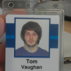 Work badge mugshot.