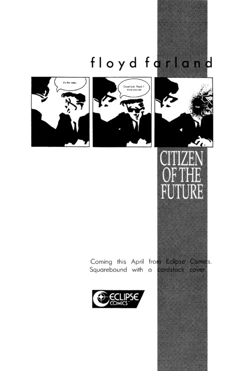 Promotional ad for Floyd Farland, Citizen of the Future by Chris Ware, 1987.