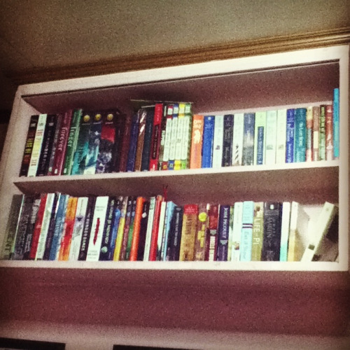 Borrowed my sister's bookshelf to accomodate my still expanding library. Currently, I have 77 titles which range from Romance to Young Adult fiction. :))