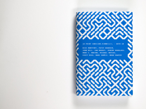 This book is called 10 PRINT CHR$(205.5+RND(1)); : GOTO 10 (MIT Press) and the whole book revolves around this C64 BASIC program. It outputs / and \ randomly, to form a maze. Read the book online as a free PDF or buy it and support good ol' Playpower. Picture copied from Creative Applications. Too lazy to photo the one lying here on the table.