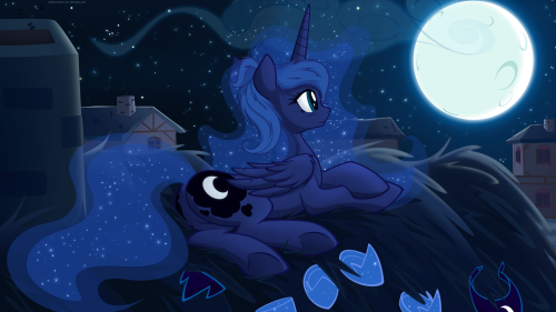 twilightsparklesharem:  (via Luna's Moon by *JunglePony on deviantART)