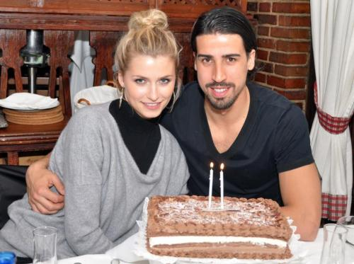Sami Khedira celebrating his 26th birthday at Mesón Txistu yesterday