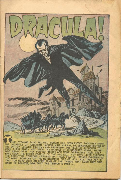 ronaldcmerchant:  the first Dracula comic-1940's from Eerie # 12