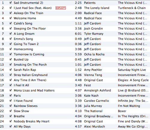 i find itunes top 25s to be really interesting. mine is a weird mix of the vicious kind soundtrack (IT WAS THE ONLY THING I LISTENED TO FOR LIKE THE FIRST HALF OF 2011), stuff from when i was in broadway fandom like four years ago, and randoms