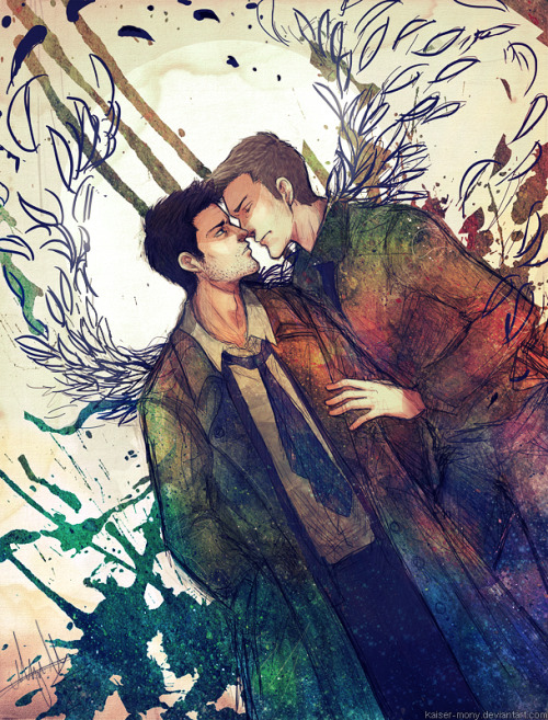 marciellesmusings:  Supernatural Art by the fantastic and amazing kaiser-mony Honestly, how can you not fall completely in love with kaiser-mony's artistic style. It is sensual and flows from the page into your soul. God, the colours are fantastic. Just ignore me orgasming over the sheer beauty of this art.