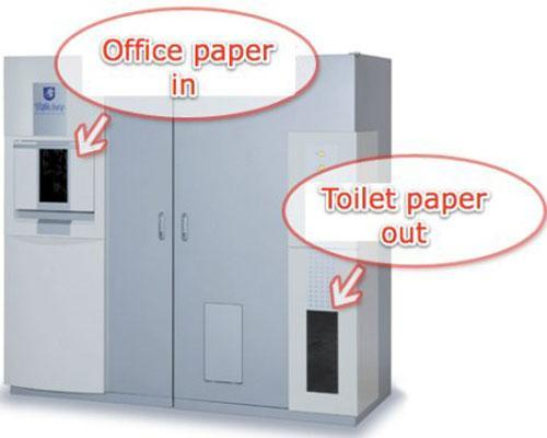 Your office will never waste paper again with Oriental's White Goat machine, which converts normal paper into toilet paper. Simply insert about 40 sheets of paper, and in 30 minutes you'll receive a freshly made roll of toilet paper. The machine shreds the paper, dissolves it in water, thins it out and then dries it and winds it around a roll. According to Oriental, it costs about 12 cents to churn out one roll.