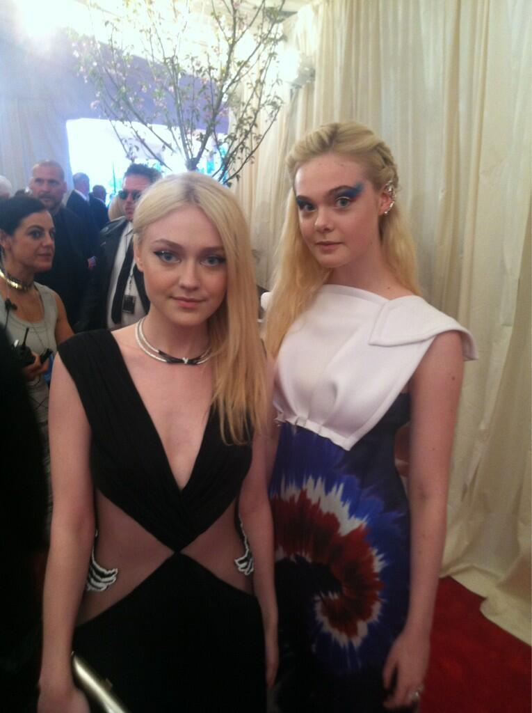 Dakota Fanning and Elle Fanning in Rodarte at the Met Gala in NYC, May 6th