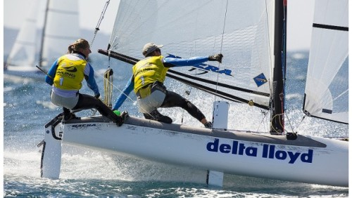 It's great to see catamarans sailing at this level again.  The Nacra 17 looks great in these photos.   Lifted from Scuttlebutt, image credit MICK ANDERSON