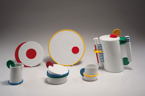 "Marcello Morandini, produced by Rosenthal""Coffee set""198715 pieces. Porcelain, white, glazed, polychromatic overglaze.Number six of a limited edition of 250"