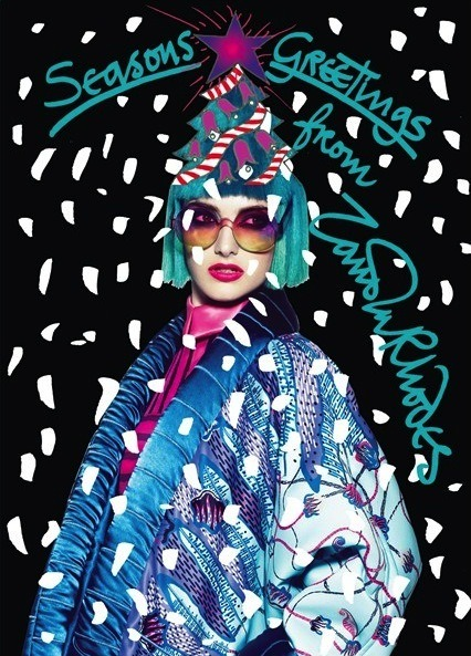 Designer Christmas Cards 2012 BY Zandra Rhodes (source from VOGUE.CO.UK)