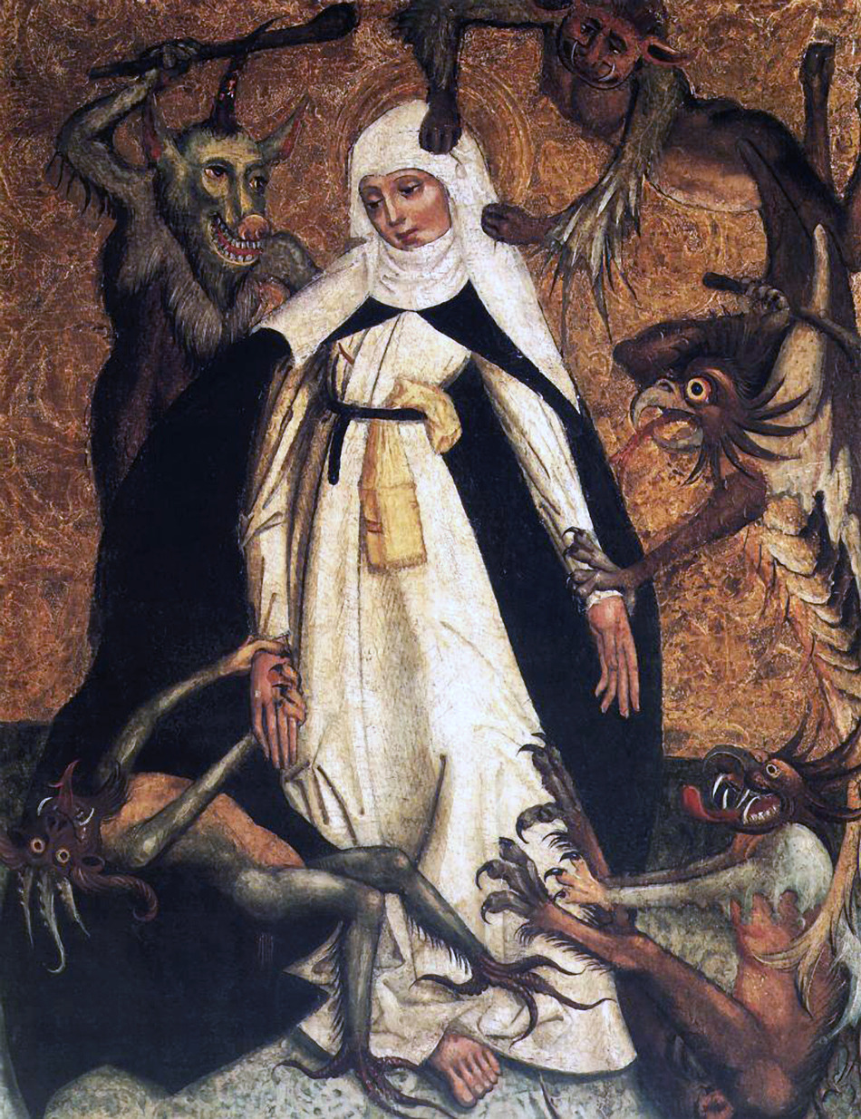 St. Catherine of Siena besieged by demons, ca. 1500