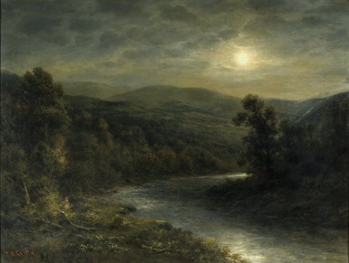 centuriespast:   Moonlight on the Delaware River Artist: Thomas B. Griffin, American, died 1918  Oil on canvas  : ca. 1896-1915