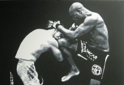 mmafanmade:  'Muay Thai Spider' Silva knees Franklin Painting by: Geo Thomson