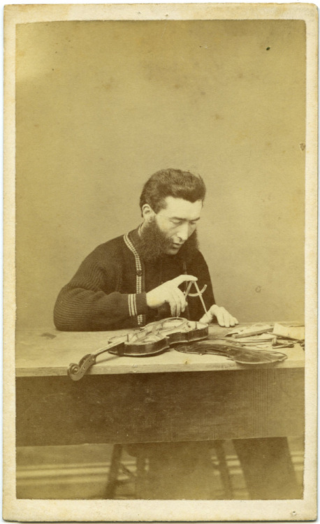 ca. 1860-80's, [carte de visite, portrait of a mutton chopped luthier working on a violin] via Macrafly, Curated Historic Photography