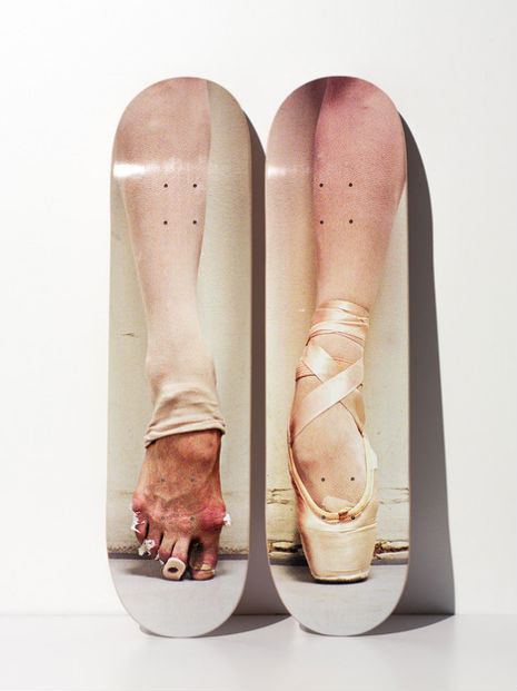 getspangled:  BALLERINA SKATE DECKS Ballet skate decks by Manhattan-based photographer Henry Leutwyler. In ballet and skateboarding, fearlessness rules. No half-measures or marking the trick. Just passion, grit and blood.