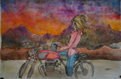 Red Jacket by Kyle Yarrington. Watercolor on paper. [ more motorcycle art ]