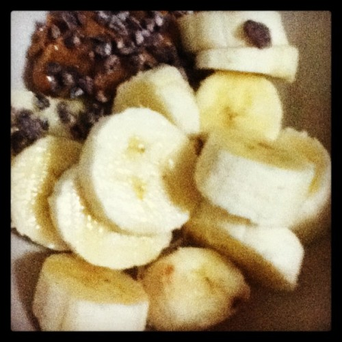 #paleo #treat: #banana with  #almondbutter and #cacaonibs