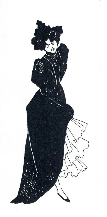oldpainting:   Aubrey Beardsley, Vignette of a lady of fashion From Bon-Mots of Foote and Hook.